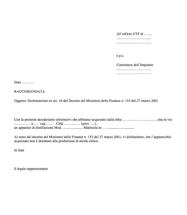 Dichiarazione per Ufficio Tecnico delle Finanze