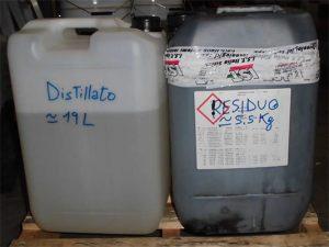 Solvente distillato e residuo